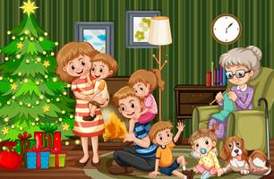 Família grande, celebrando, natal