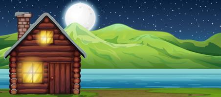 Casa de cabine à noite scen vetor