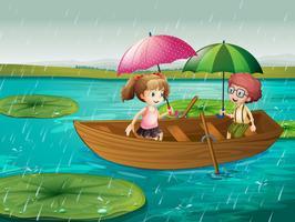 Cena, com, menino menina, barco remando, em, a, chuva