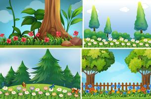 Quatro cenas de fundo de jardim vetor