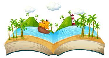 Livro com cena do oceano vetor