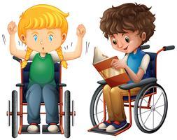 Menina menino, em, cadeira rodas vetor
