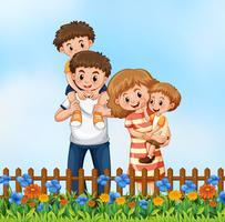 Família feliz na flor graden vetor