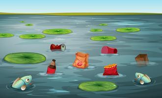 Peixe, em, água, poluição vetor