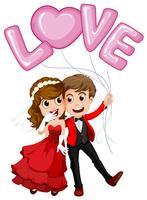Casal de noivos e balão de amor vetor