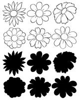 Um conjunto de flores de doodle e silhueta
