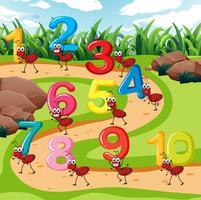 Dez formigas carregam número vetor