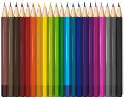 Lápis de cor em vinte e uma cores vetor