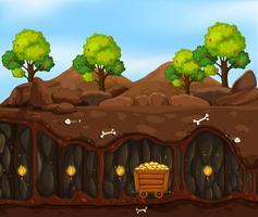 Uma cena subterrânea de mineração vetor