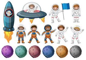 Crianças em traje de astronauta e planetas diferentes vetor