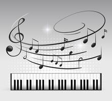 Teclado musical e nota vetor