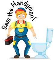 Sam o faz-tudo consertando o banheiro vetor
