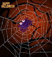 Uma aranha na web modelo de halloween vetor