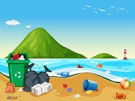 Cena de praia suja pollited vetor