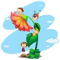 Quatro crianças, ligado, a, gigante, flor vetor