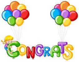 Balões coloridos com palavra parabéns vetor