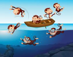 Macaco se divertindo no mar vetor