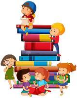 Menino menina, com, livros vetor