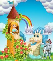 Princesa na torre com cavaleiro e dragão vetor