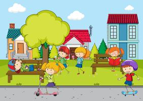 Crianças, tocando, frente, casa vetor