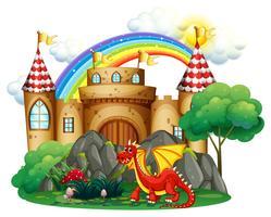 Dragão vermelho na torre do castelo vetor