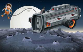 Astronauta voando de nave espacial no espaço vetor