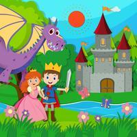 Cena de conto de fadas com o príncipe e a princesa vetor