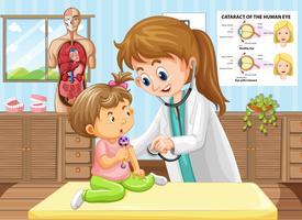 Doutor, fazendo, cheque saúde, para, bebê vetor