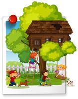 Muitas crianças brincando na casa da árvore vetor