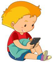 Um, menino, jogando telefone móvel vetor