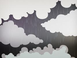 Fundo de natureza com chuva no céu vetor