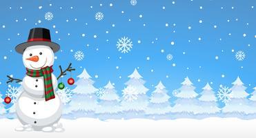 Boneco de neve no inverno vetor