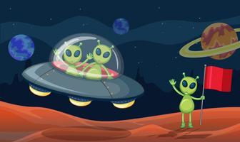 Alienígenas verdes em UFO vetor