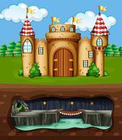 Um, castelo, e, subterrâneo, dragão, caverna vetor