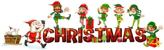 Poster de Natal com Papai Noel e duendes vetor