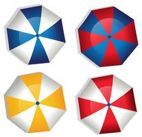 Um conjunto de guarda-chuva no fundo branco vetor