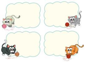 Modelos de borda com gatinhos fofos vetor