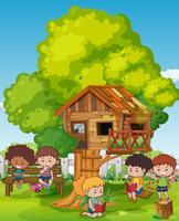 Cena, com, crianças, e, treehouse vetor