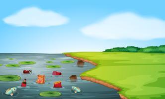Uma paisagem de poluição da água vetor