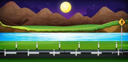 Cena de fundo com a estrada ao longo do rio vetor