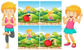 Garota fazendo exercícios no parque vetor