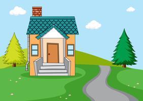 Uma casa simples no fundo da natureza vetor
