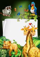 Design de papel com fundo de animais selvagens
