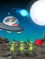 Tema do espaço com astronauta e três alienígenas vetor