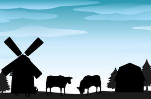 Cena silhueta, com, vacas, e, celeiros vetor