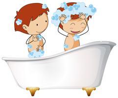 Duas crianças, em, banheira vetor