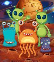 Alien com amigos em Marte vetor