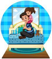 Menina e pai no quarto