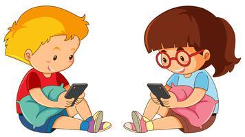 Menino menina, tocando, telefone móvel vetor