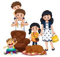 Membros da família com pais e filhos